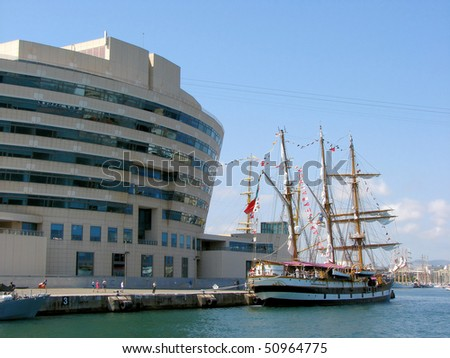 seaport and station in barcelona, spain, catalonia - stock photo
