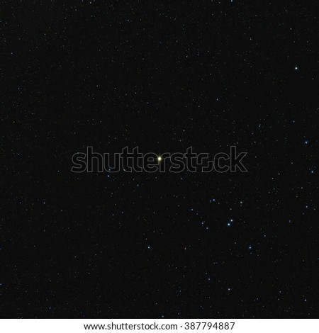 60 second exposure of Aldebaran in the constellation of Taurus at a focal length of 200mm - stock photo