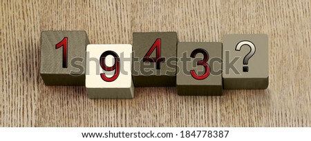 1943, Second World War, 1939 - 1945, sign series for famous dates and historical events, education and history lessons. Panoramic. - stock photo