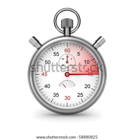 15 seconds. Isolated stopwatch on white. Clipping path included. Computer generated image. - stock photo