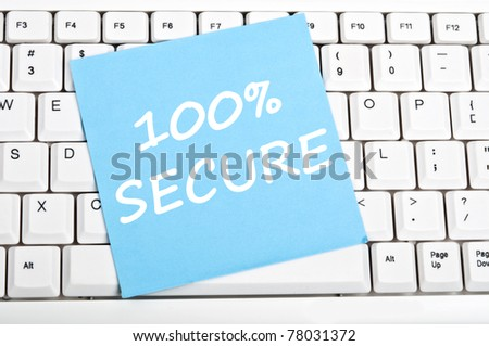 100% secure mesage on keyboard - stock photo