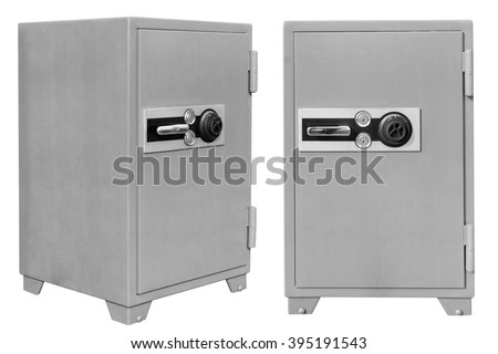 Security metal safe isolated on white background with clipping path - stock photo