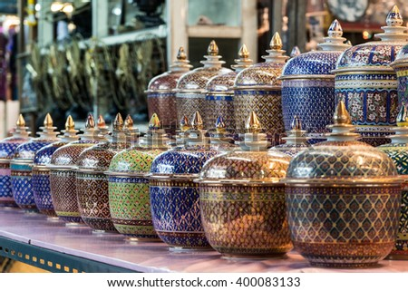 Selling Benjarong Porcelain in the flea market , Thailand - stock photo