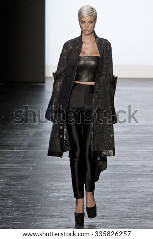 11 September 2015 - New York,USA - Candice Cuoco Project Runway season 14 Finale collection at New York Fashion Week Spring Summer 2016 at Moynihan station - stock photo
