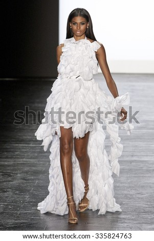 11 September 2015 - New York,USA - Edmond Newton Project Runway season 14 Finale collection at New York Fashion Week Spring Summer 2016 at Moynihan station - stock photo