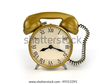 24/7 service concept. Retro alarm clock and retro phone receiver. - stock photo