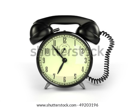 24/7 service concept. Retro alarm clock and retro phone reciever. - stock photo