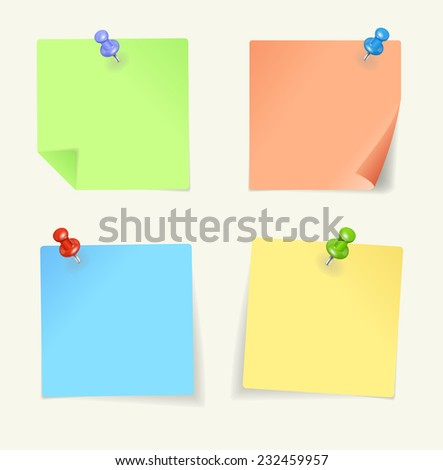 set of colour sticky Notes with pin - stock photo