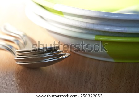 set of kitchenware on the table - stock photo