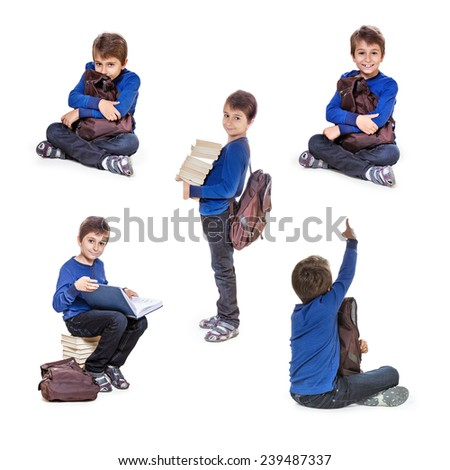 Set of portraits schoolboy with books. Isolate on white background. - stock photo