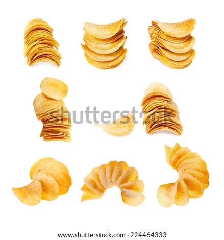 set of potato chips isolated - stock photo