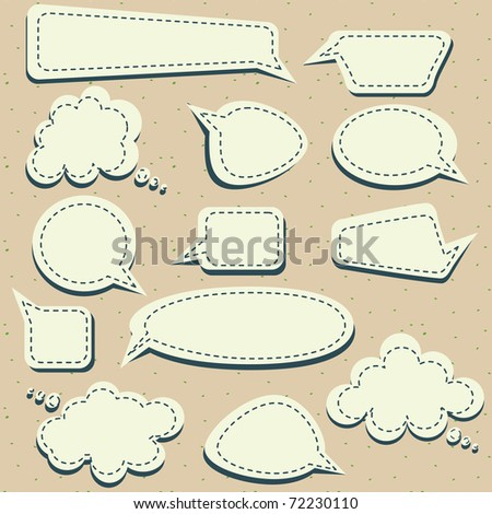 set of speech and thought blobs - stock photo