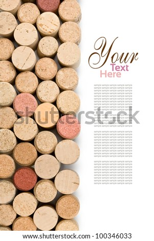 set  of wine corks isolated on white - stock photo