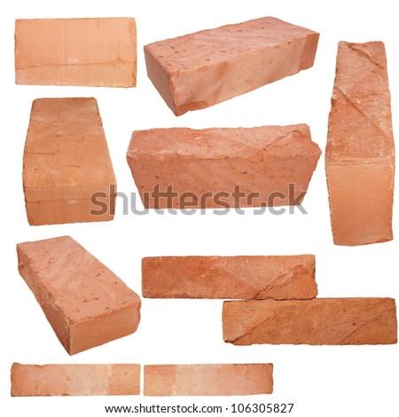 Set old red brick isolated on white background - stock photo