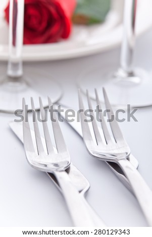 Set the table for two - stock photo