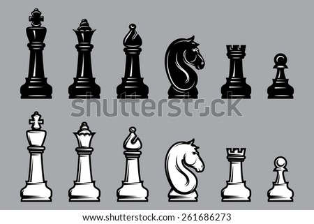 sets of black and white chess with part of the chessboard - stock photo