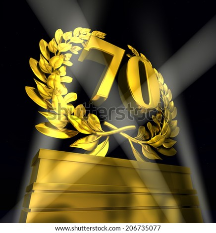 70, seventy, number in golden letters at a pedestrial with laurel wreath - stock photo