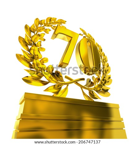 70, seventy number in golden letters at a pedestrial with laurel wreath - stock photo