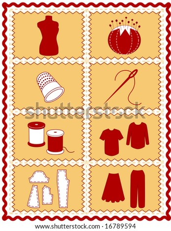 Sewing, Tailoring Tools for dressmaking, textile arts, do it yourself crafts, hobbies, fashion model, pincushion, straight pins, thimble, needle, thread, clothes patterns, red, gold rick rack frame.  - stock photo