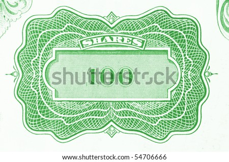 100 shares. Old stock share certificate. Vintage scripophily objects. - stock photo