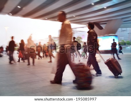 shenzhen Train Tube station Blur people movement in rush hour  - stock photo