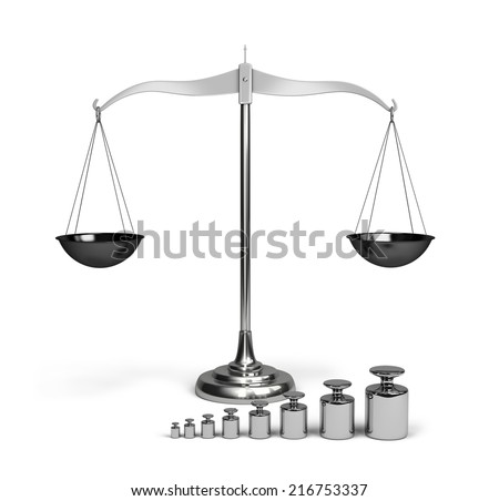 Shiny scales with weights. 3d image. White background. - stock photo