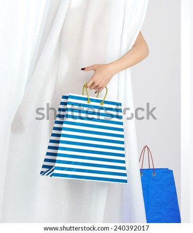 shopping woman holding bag sale conceptual background - stock photo