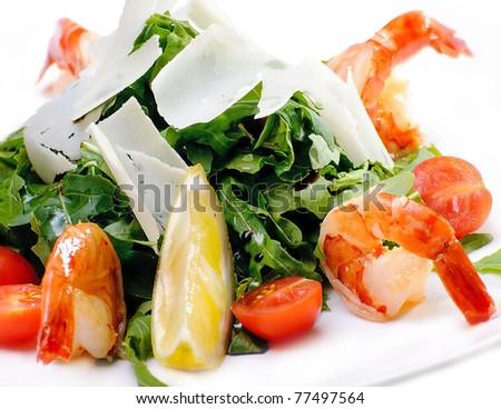 Shrimp salad,menu - stock photo
