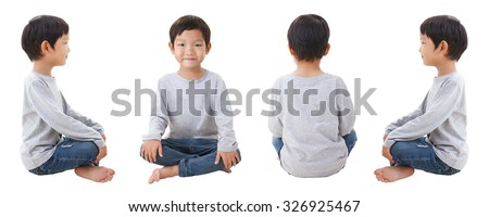4 sides of boy siting on white background - stock photo