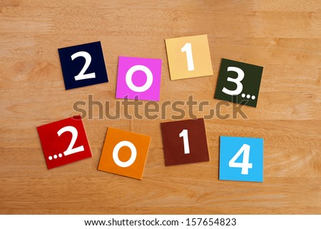 2013 ... 2014  -  sign for a Happy New Year or New Years Eve. - stock photo