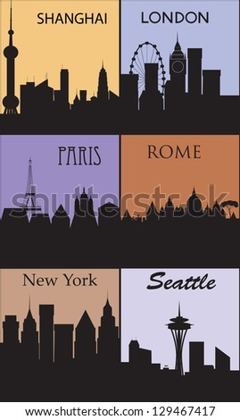Silhouettes of famous cities. - stock photo