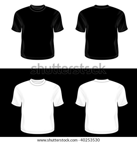 Silkscreen series. Black and white realistic blank round neck t-shirt templates (front and back). - stock photo