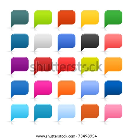 25 simple web 2.0 dialog speech bubble. Rounded square icon with reflection and shadow on white. - stock photo