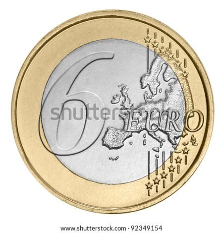 Six euro coin on white - stock photo