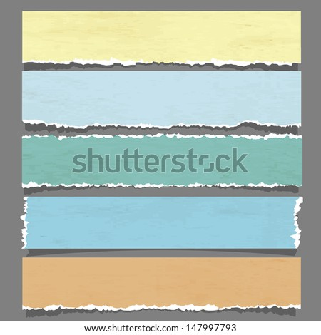 Six torn paper banners.Raster version - stock photo