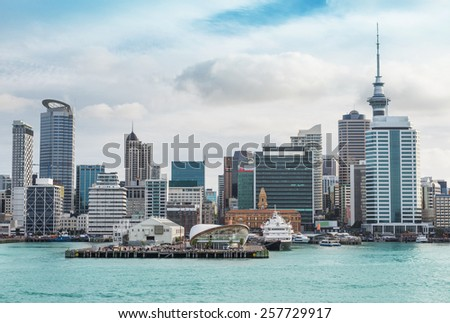 skyline of Auckland with city central business district at the noon - stock photo