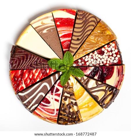 14 Slice Gourmet Sampler Cheesecake - stock photo