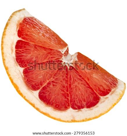 slice of citrus grapefruit detail close up isolated on white background - stock photo