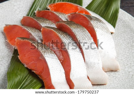 sliced salmon - stock photo