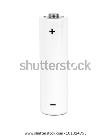 small battery with positive and negative signs - stock photo
