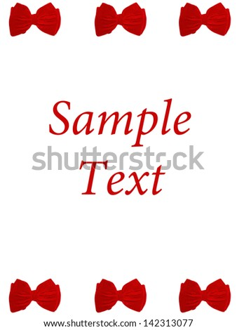 6 small bow ties card text - stock photo