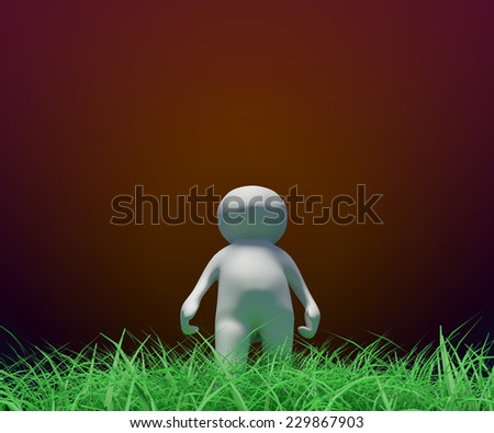 small people 3d - 3d little person walking on the grass - stock photo
