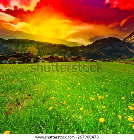 Small Village High Up in the Swiss Alps, Sunset - stock photo