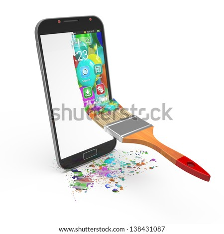 smartphone interface design concept - stock photo