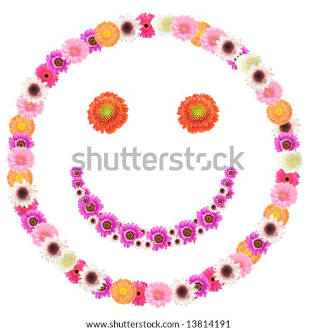 smiley made from colorful flowers on white background - stock photo