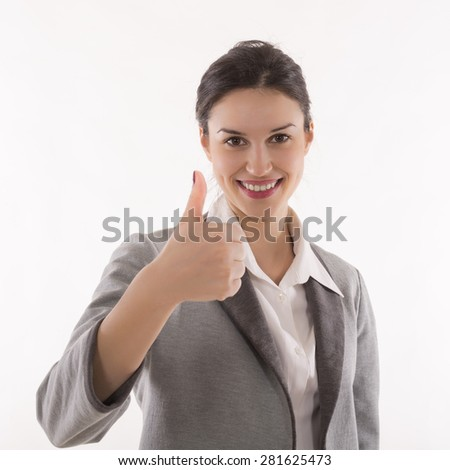 Smiling business woman with thumb up gesture, isolated on white background - stock photo