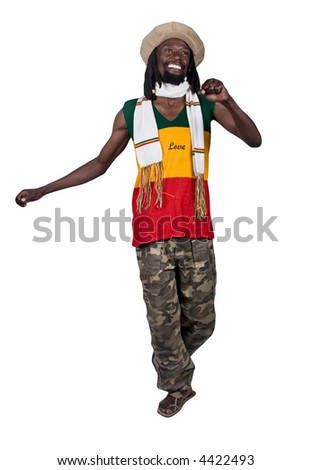 smiling rastafarian man, clipping path, - stock photo