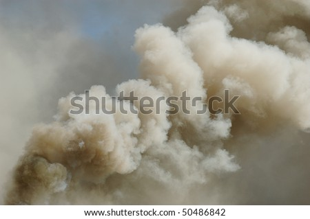 """Smoke from a Chimney at a Structure Fire"" Douglas County Fire District #2 Burn to Learn, Hwy 99S, near Roseburg OR - stock photo"