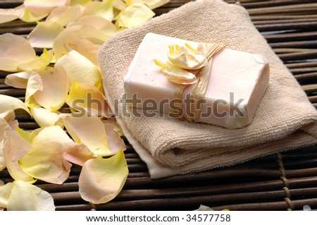 soap with rose petals �spa image - stock photo