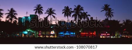 ��SOBE� south beach at night, Miami Beach, Florida - stock photo